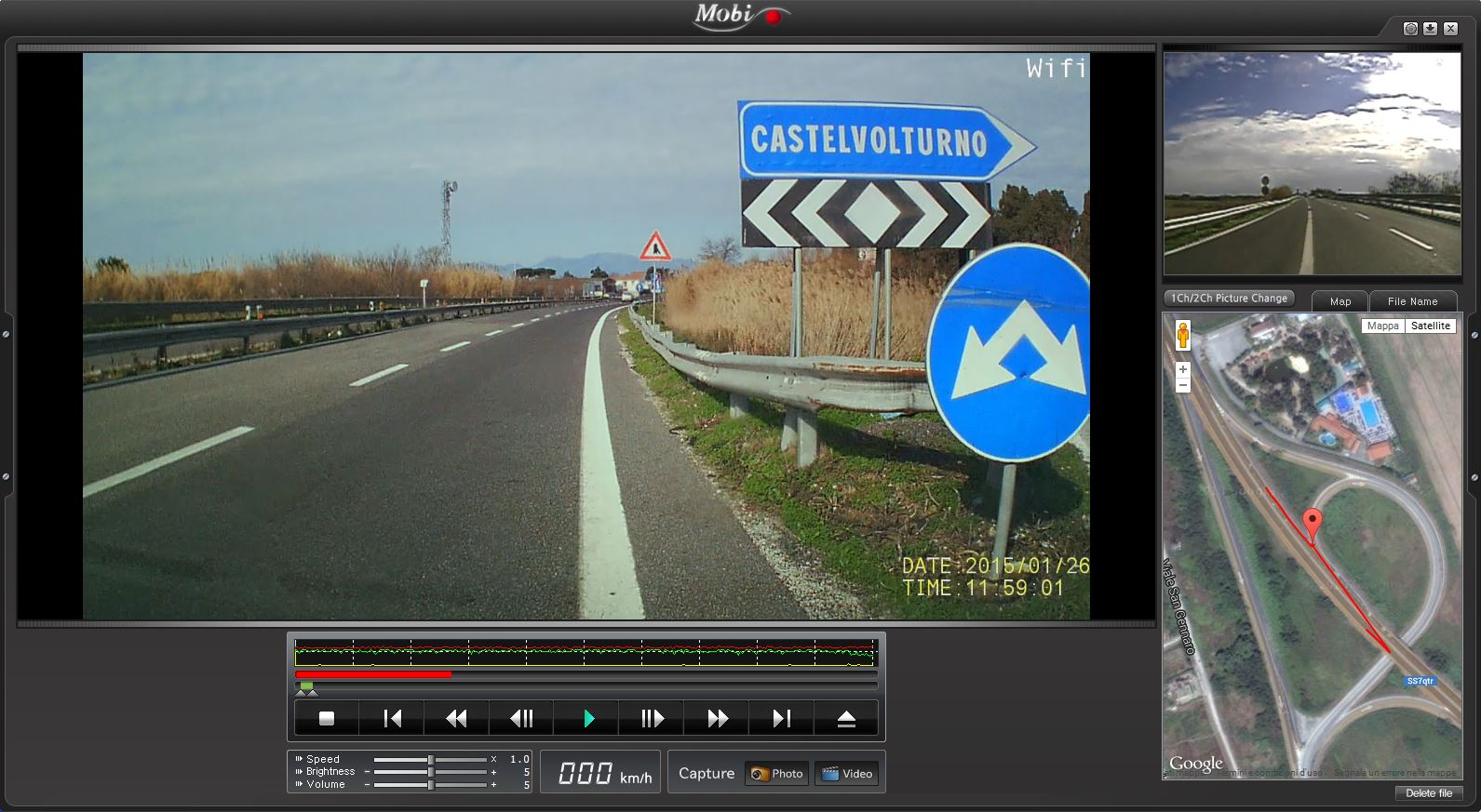 video georeferenziato con doppia camera